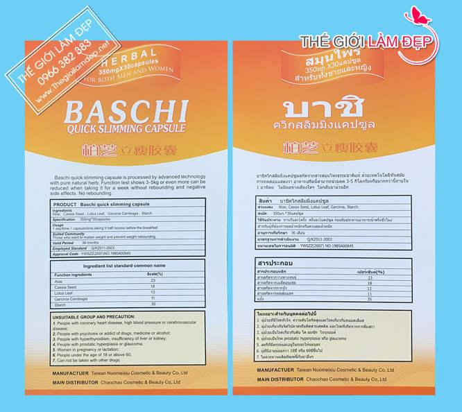 Thuốc giảm cân Baschi Thái Lan 1